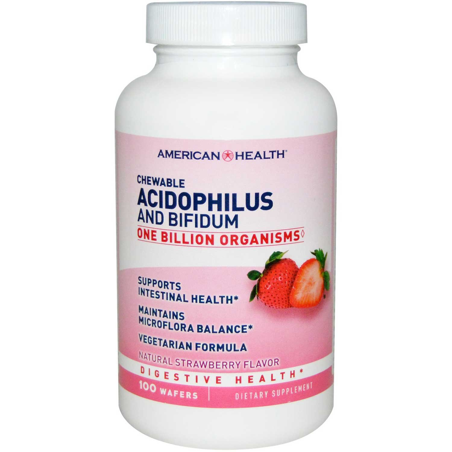American Health Chewable Acidophilus w/Bifidus - Strawberry, 100 tabs