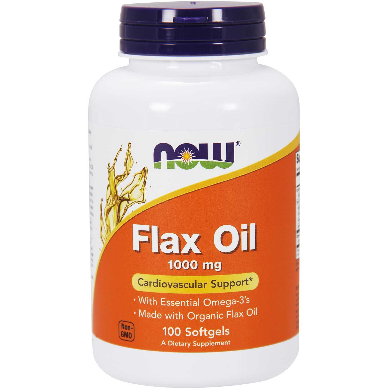 NOW Flax Oil Expeller-Pressed (Organic) 1000 mg, 100 sgls
