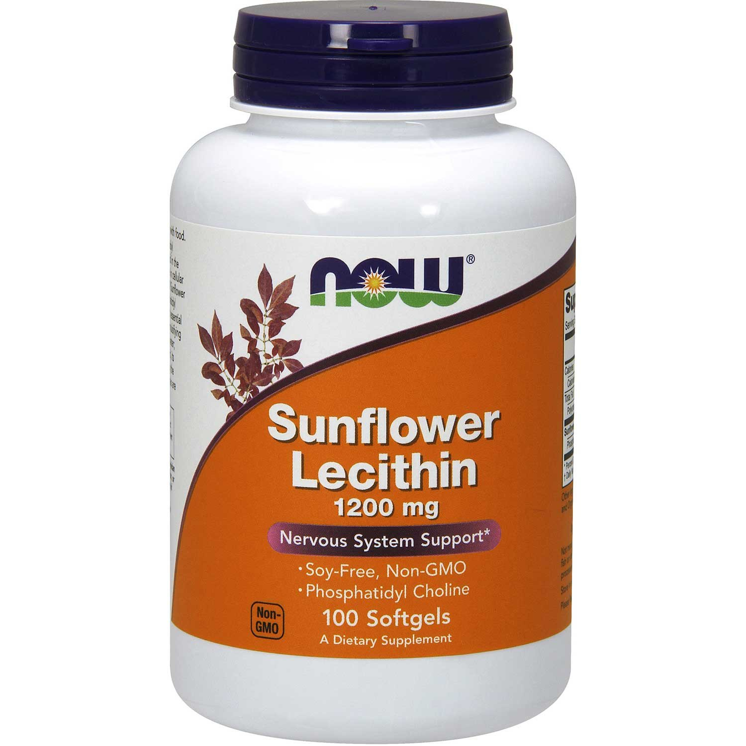 NOW Sunflower Lecithin 1200 mg (Non-GMO, Soy-Free), 100 sgls