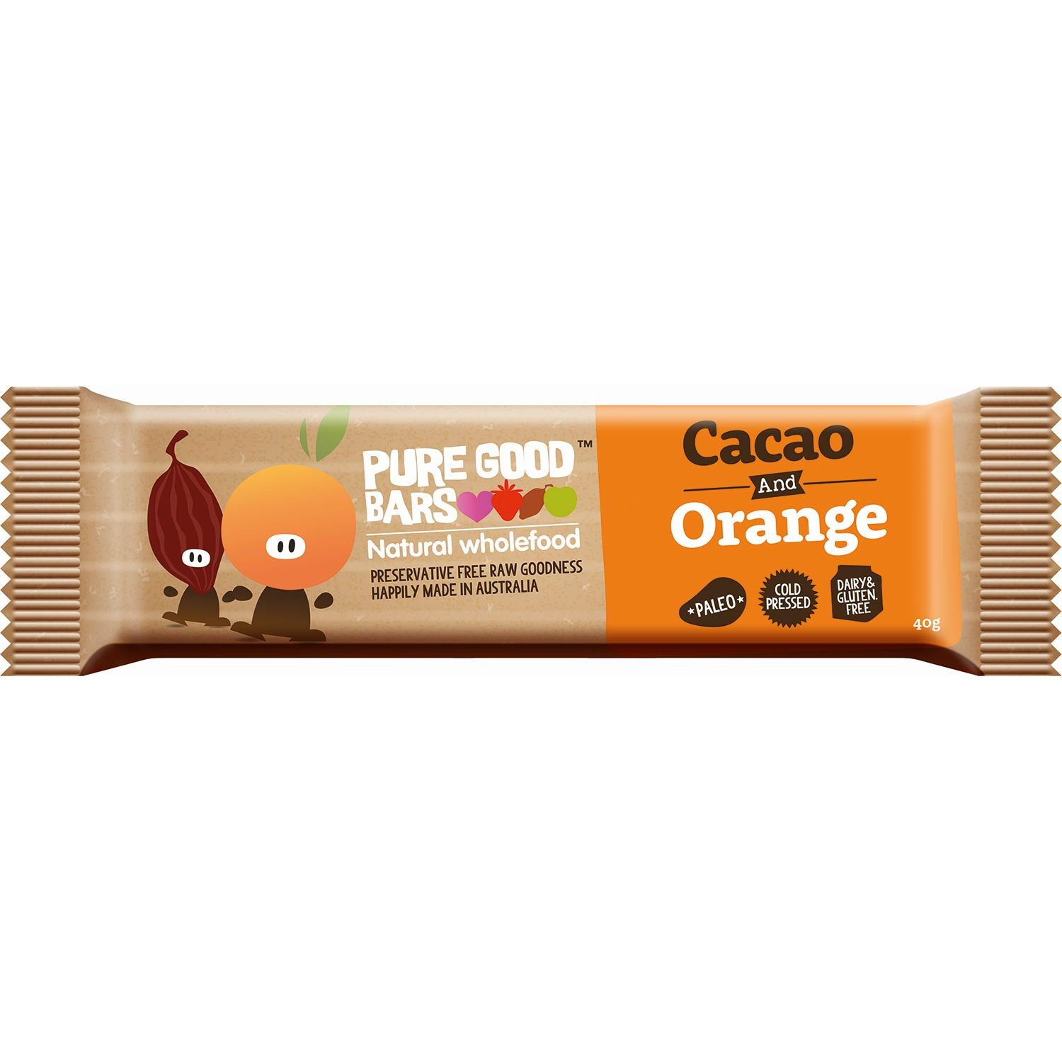 Pure Good Bars -Cocao and Orange, 40g
