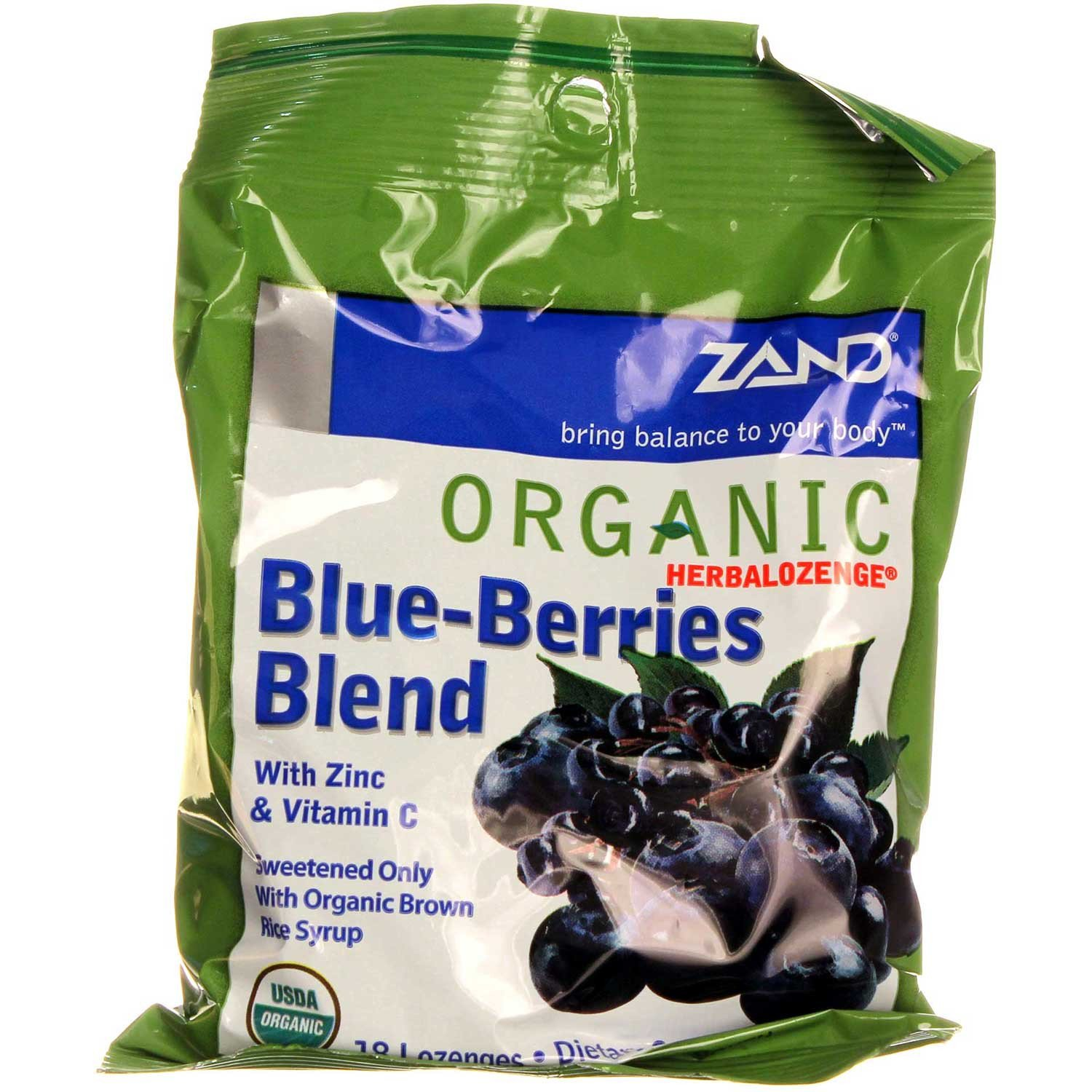Zand Organic HerbaLozenge Blue-Berries, 18 ct
