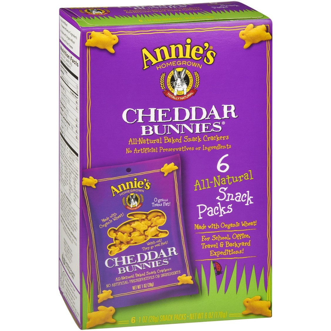 Annie's Homegrown Cheddar Bunnies - Original (Snack Pack), 6 x 28g