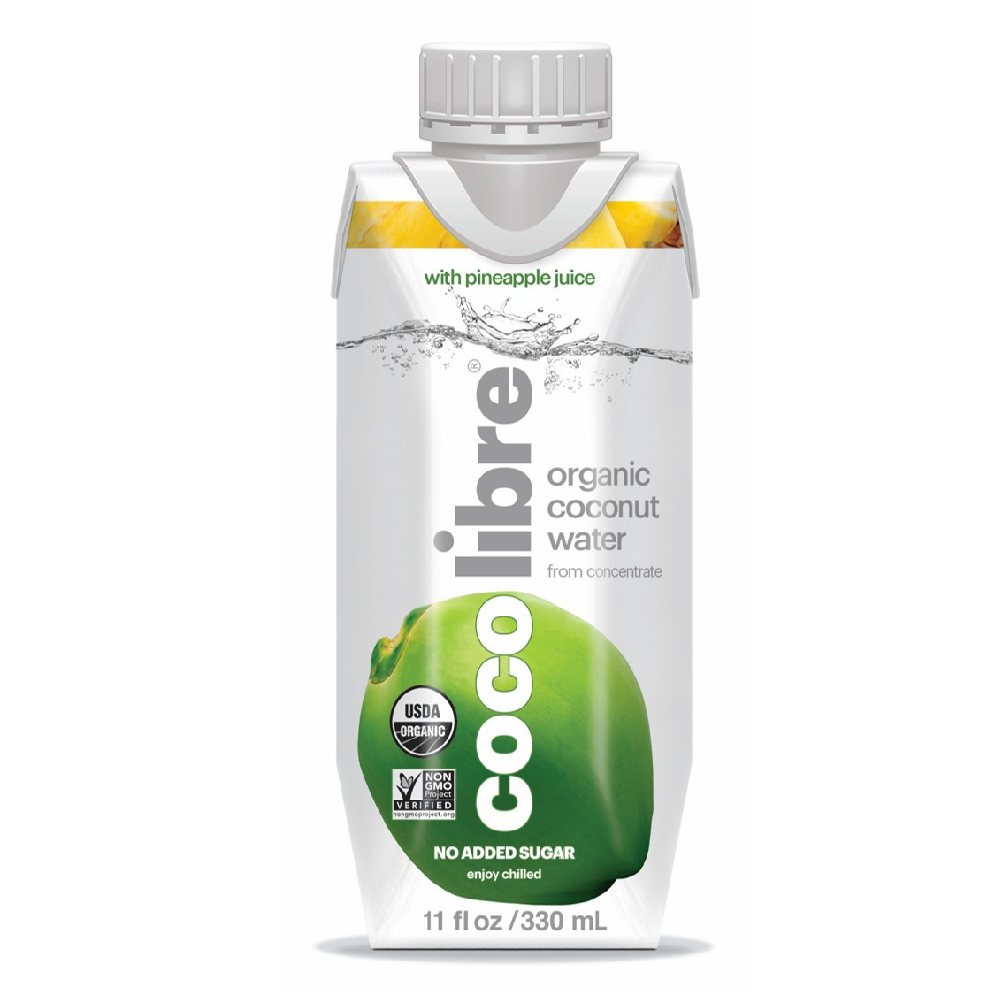 Coco Libre Pure Organic Coconut Water with Pineapple (>95% Organic), 330 ml
