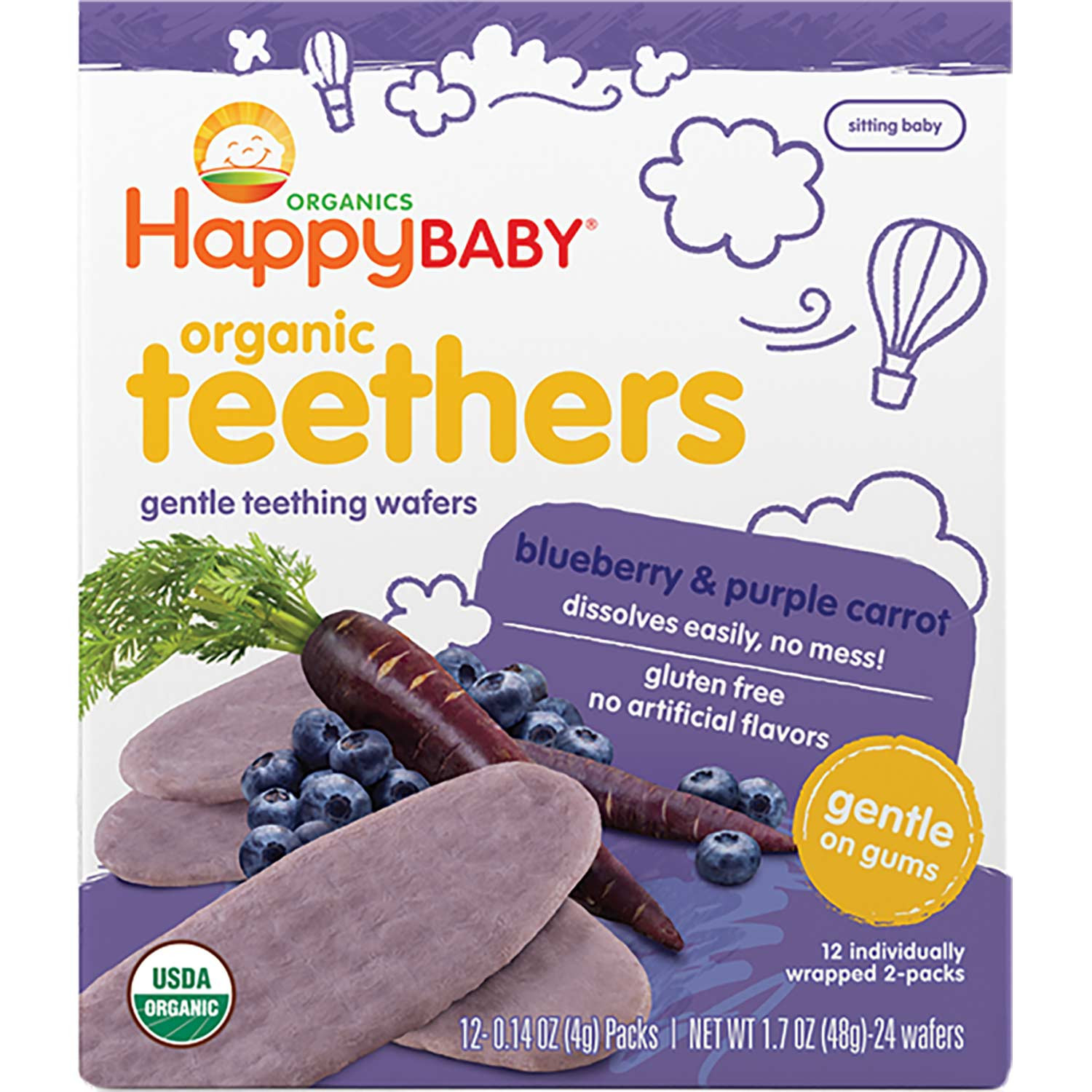 Happy Family Happy Baby Gentle Teethers - Blueberry & Purple Carrot, 12 x 4 g