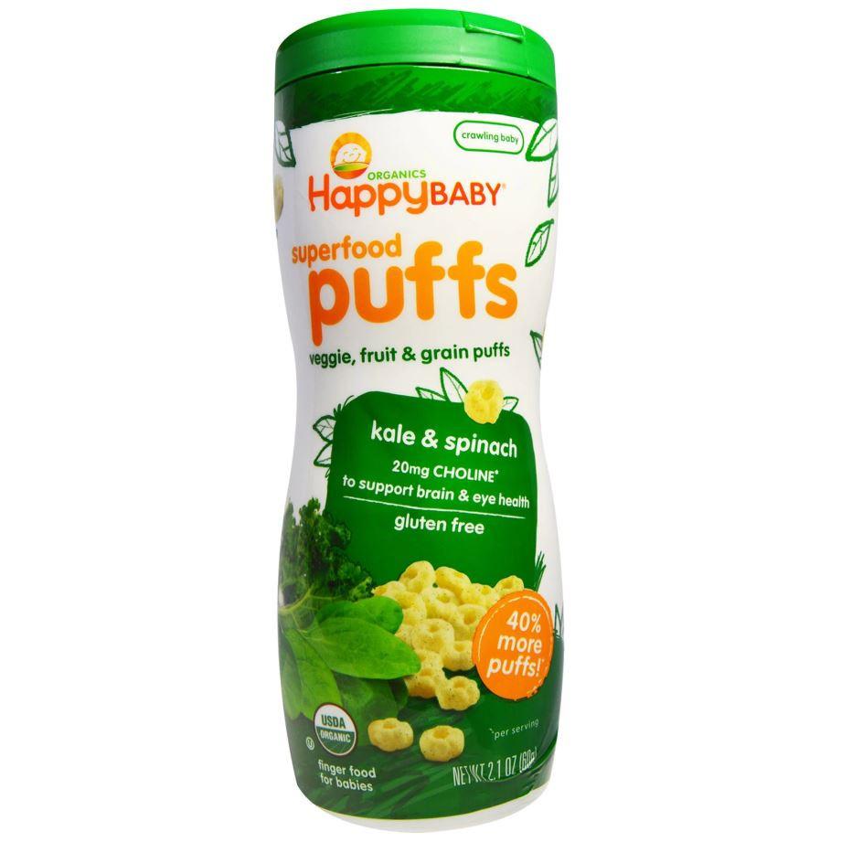 Happy Family Happy Baby Superfood Puffs - Kale & Spinach (Gluten-Free), 60 g