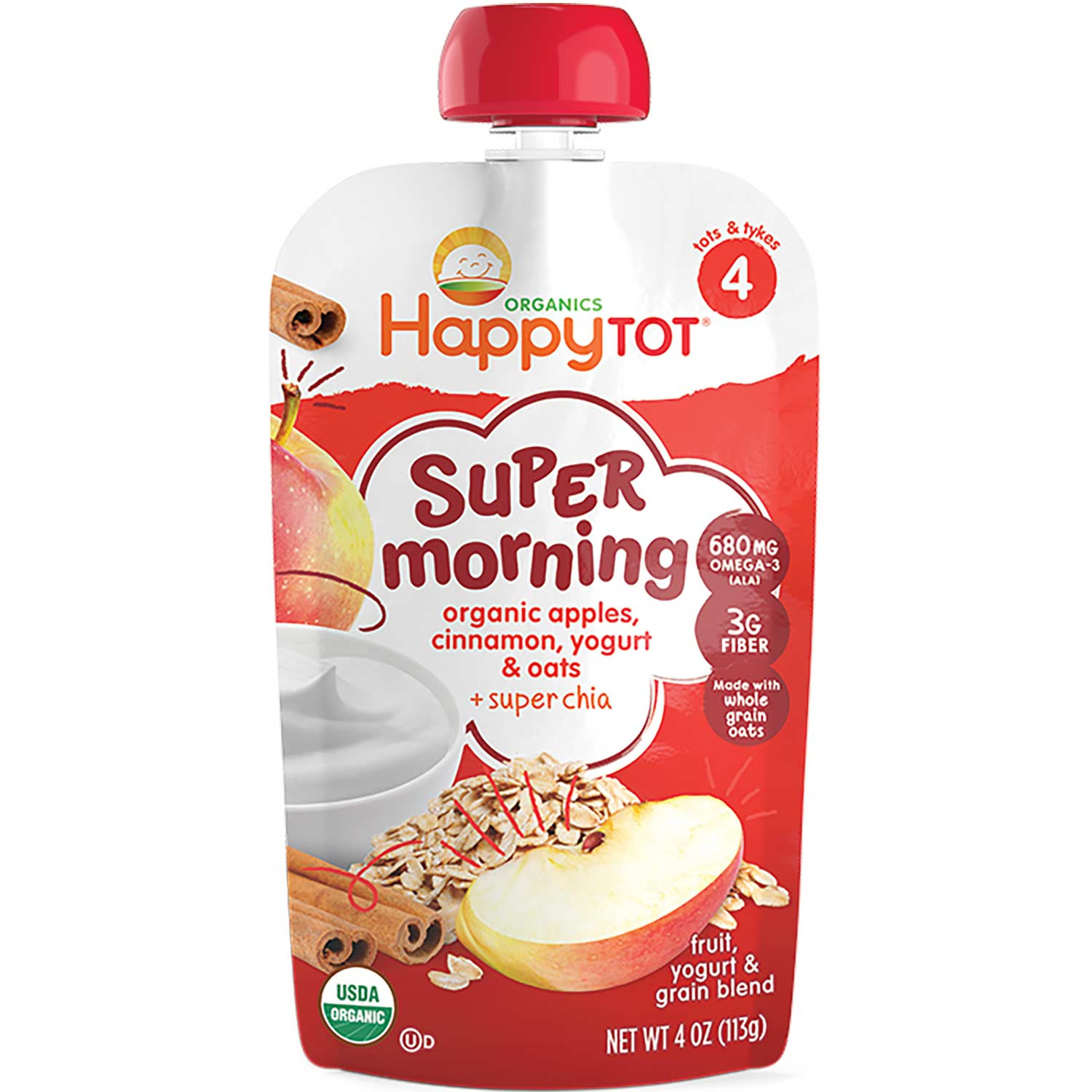 Happy Family Happy Tot Super Morning - Apples, Cinnamon, Yogurt & Oats, 113 g