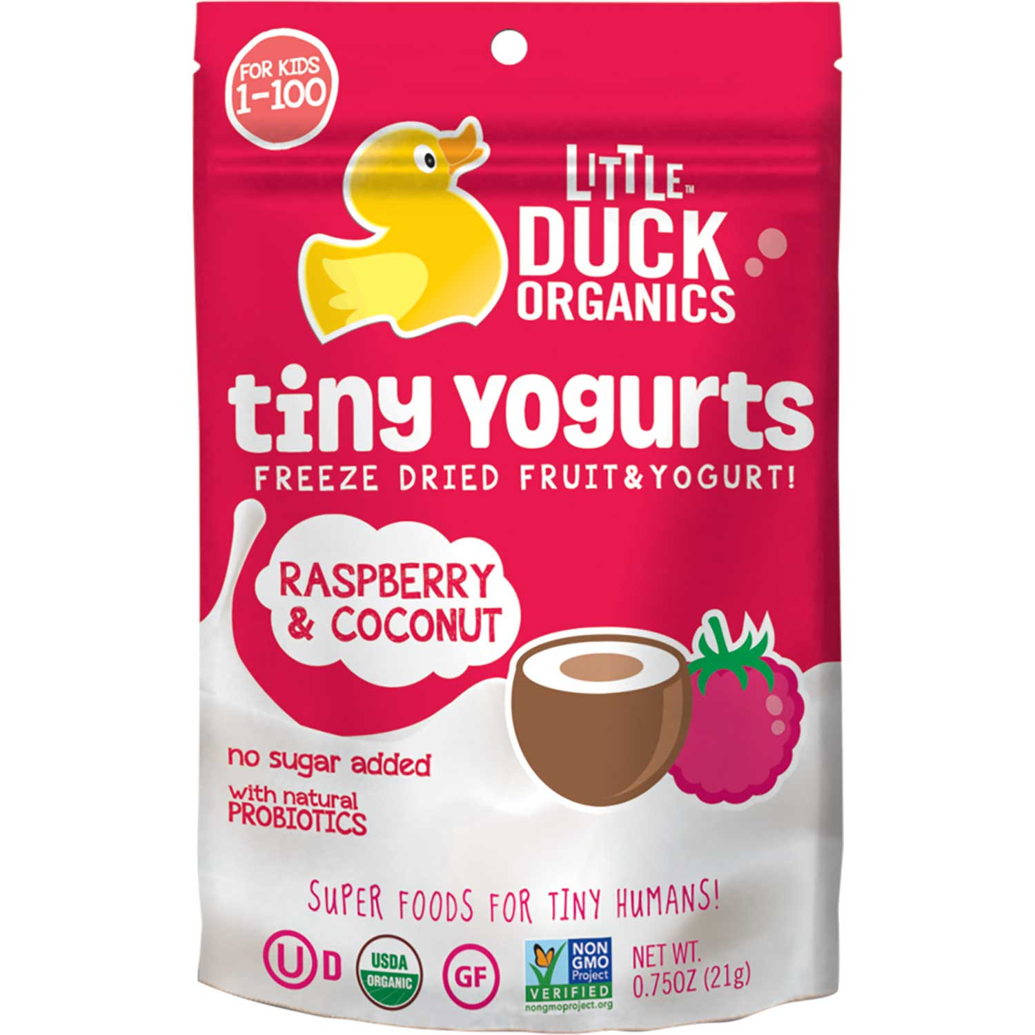 Little Duck Organics Tiny Yogurts - Raspberry & Coconut, 21g