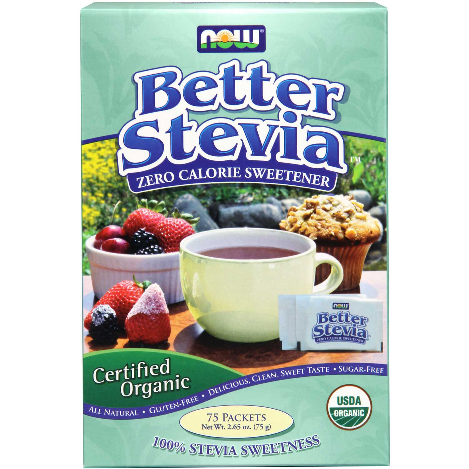NOW BetterStevia Organic Extract Powder Packets, 75 x 1 g