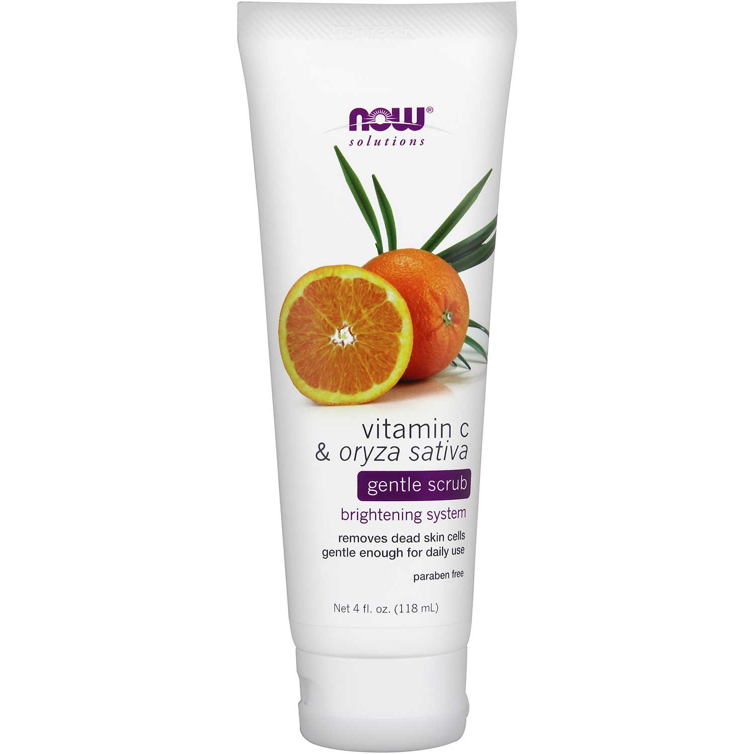 NOW Solutions Vitamin C Oryza Sativa Gentle Scrub, 118ml