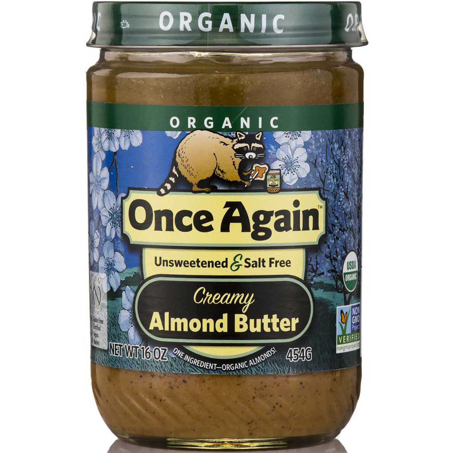 Once Again Nut Butter Organic Almond Butter - Creamy Unsweetened & Salt Free, 454 g