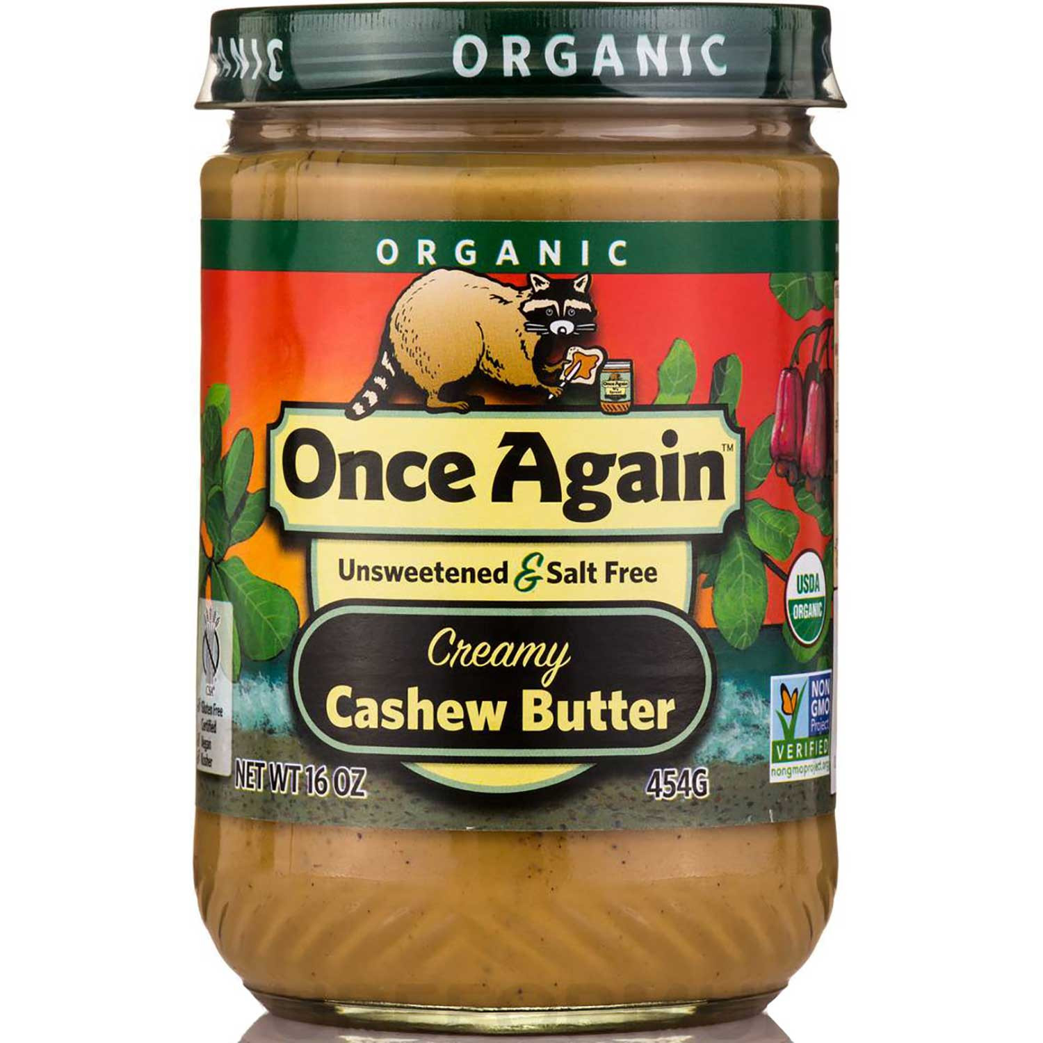 Once Again Nut Butter Organic Cashew Butter - Unsweetened & Salt Free, 454 g