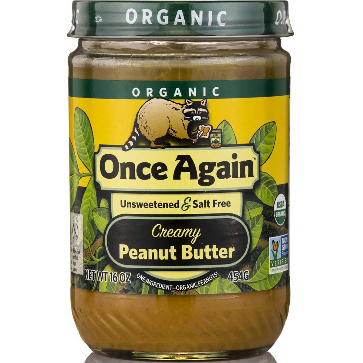 Once Again Nut Butter Organic Peanut Butter - Creamy Unsweetened & Salt Free, 454 g