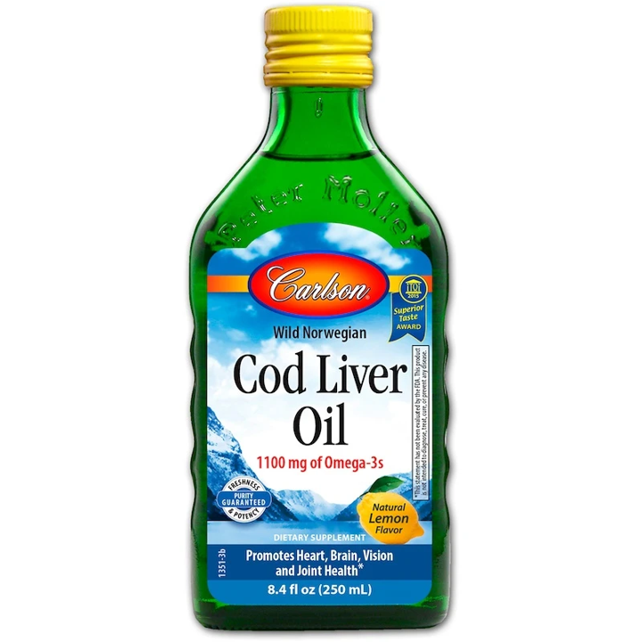 Carlson Norwegian Cod Liver Oil- Lemon, 250ml.