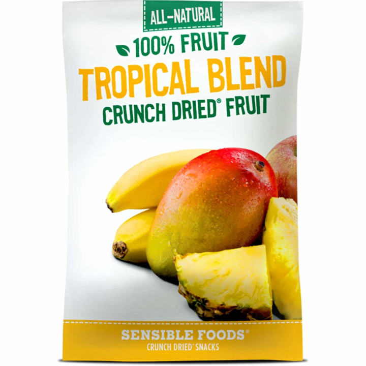 Sensible Foods Crunch Dried Fruit, All-Natural 100% Fruit Tropical Blend, 36g.